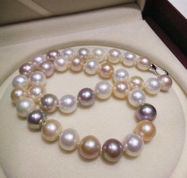 Round huge AAA 11-12 mm Tahitian multicolor natural pearl necklace 18 INCH 36Round huge AAA 11-12 mm Tahitian multicolor natural pearl necklace 18 INCH 36
