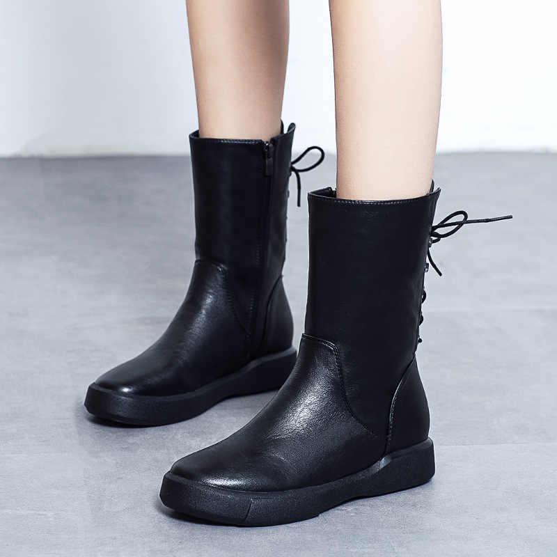 Haisum çizmeler kadın düz tabanlı artı kadife pamuk botları İngiliz rüzgar retro bayan botları H-6092