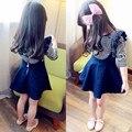 Spring Summer 2-8 Yr Toddler Girls Casual Dress Fashion Black and White Stripes T-shirt + Dark Blue Slip Dress Kids Dresses