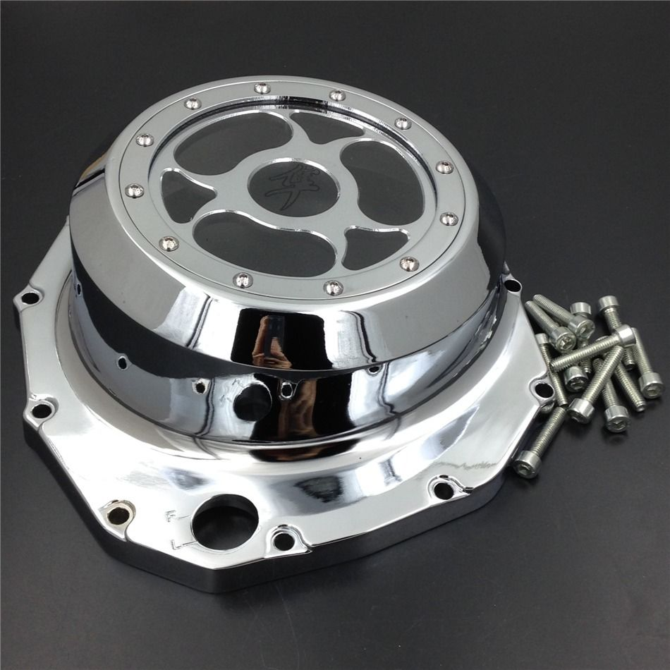 Free shipping motorcycle parts See through Engine Clutch Cover For Suzuki GSX1300R Hayabusa 1999-2013 motorcycle parts blue led see through engine clutch cover for suzuki gsx1300r hayabusa b king cd