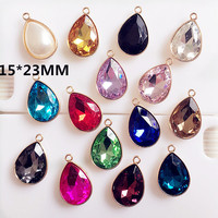 Wholesale 50Pcs Crystal Rhinestone Waterdrop Pendant Charms Gold Tone Plated DIY Jewelry Bracelet Necklace Alloy Charm Craft