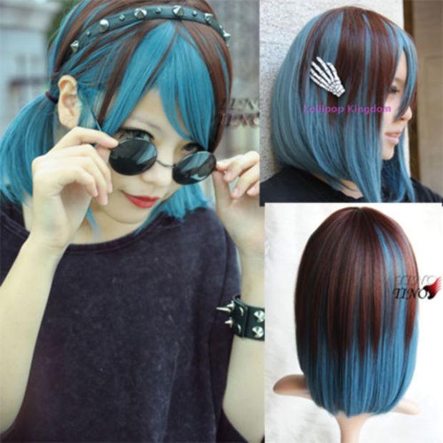 Mode Brown Warna Biru Pendek Lurus Wig Rambut Penuh Cosplay Lolita Wig Lolita Wig Hair Wigscosplay Lolita Wig Aliexpress