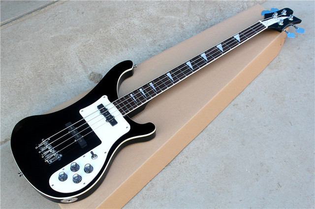 Factory Custom Black Body 4 Strings R Electric Bass Guitar With 2 Pickupschrome Hardware