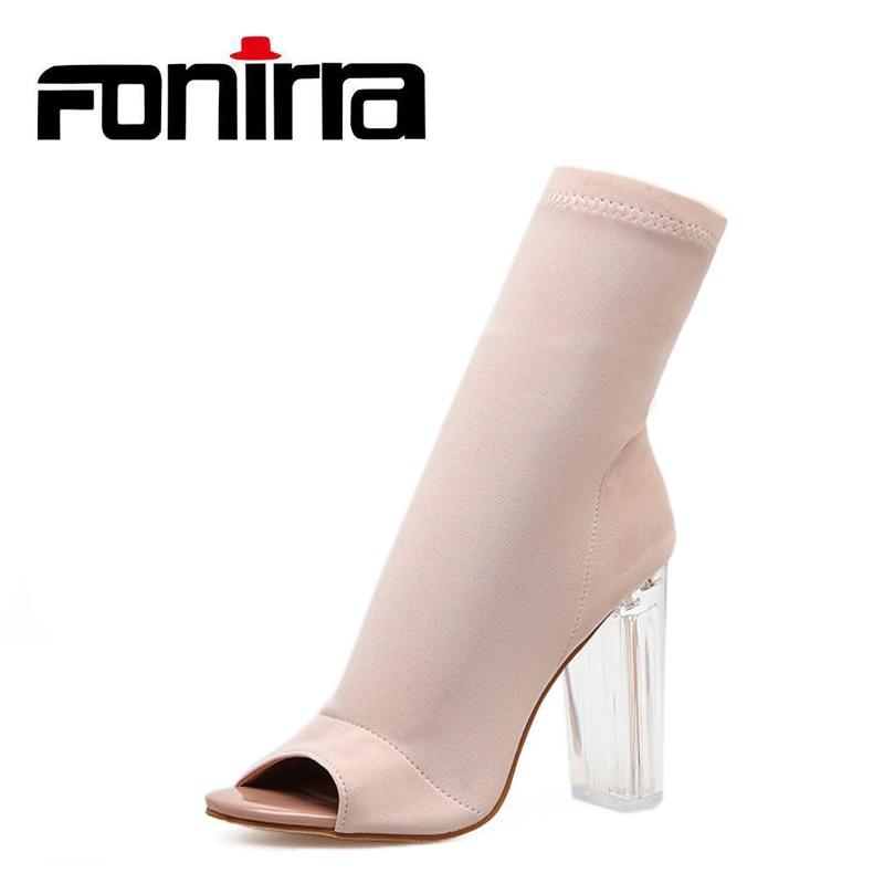 FONIRRA 2018 Peep Toe Sock Boots Women Fashion Clear Heel Elastic High Boots Pumps New High Heel Sexy Ankle Boots Women 943
