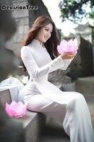 2019 summer white woman aodai vietnam traditional clothing ao dai vietnam robes and pants vietnam costumes improved cheongsam