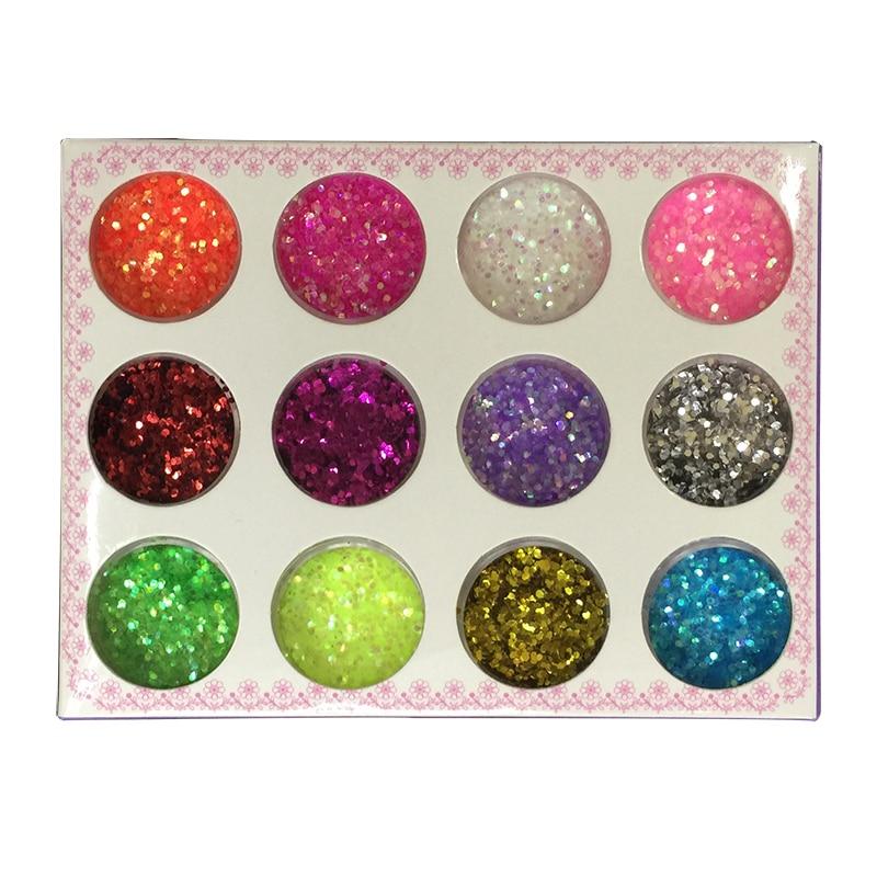 A set of 12 color design new sparkling sequins 3 D round nail nail art deco