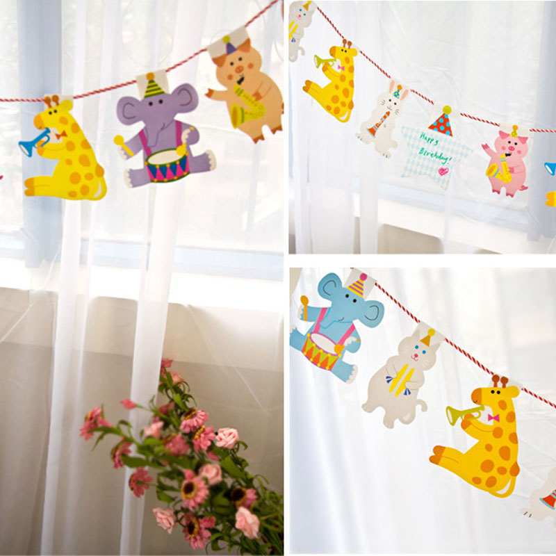 2M Garland party decoration decoration animal striped paper flags ...