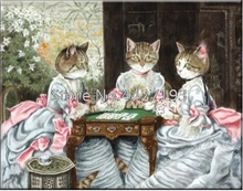 Diamond Mosaic Fortune Cat Playing Cards Embroidery Needlework Diy Painting Cross Stitch Decoration Full Resin