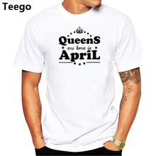 b91649f8 New Queen Are Born In April T-shirt men Cotton O-neck T Shirt Tops Tees men Shirt  Birthday Gift