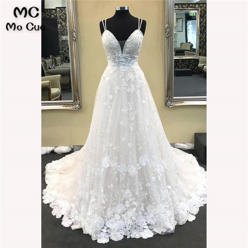 2018 Vintage Wedding Dresses With Appliques V-Neck Robe De Mariage Tulle Sweep Train A-Line Bridal Gown Wedding Dress