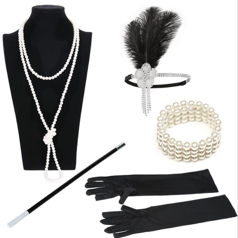 1920s Flapper Accessory The Great Gatsby Headband Necklace Cigarette Holder Sets Tiara Bracelet  Cosplay Vintage Bridal Tiara
