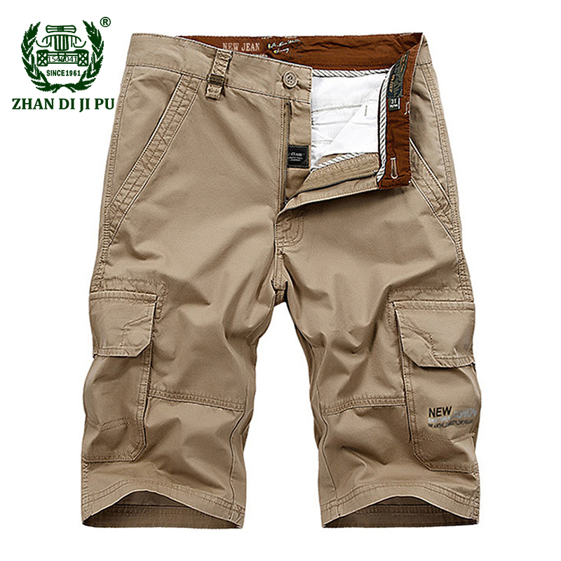 Big Size 30-44 Men's 2018 Summer Casual Brand 100% Cotton Army Green Shorts Man Afs Jeep Khaki Cargo Work Blue Straight Trousers