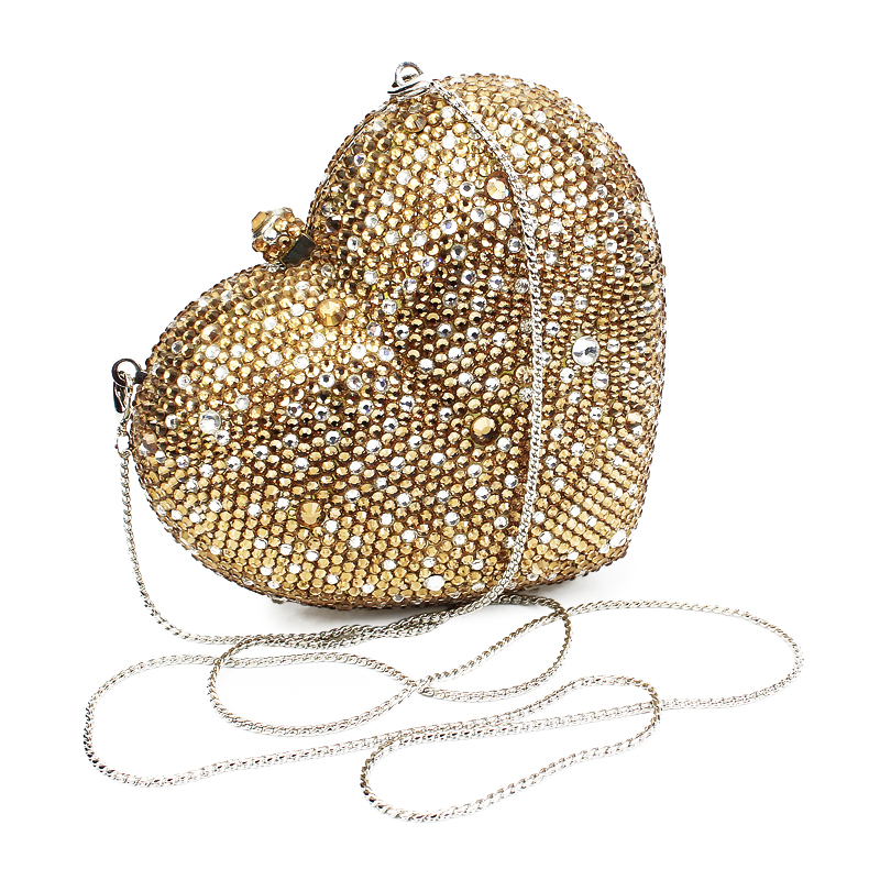 Gold Heart Shape Women Mini Crystal Clutches Evening Purses Wedding Party Clutch Bags Rhinestones Diamond Handbags(B1014-HG) купить