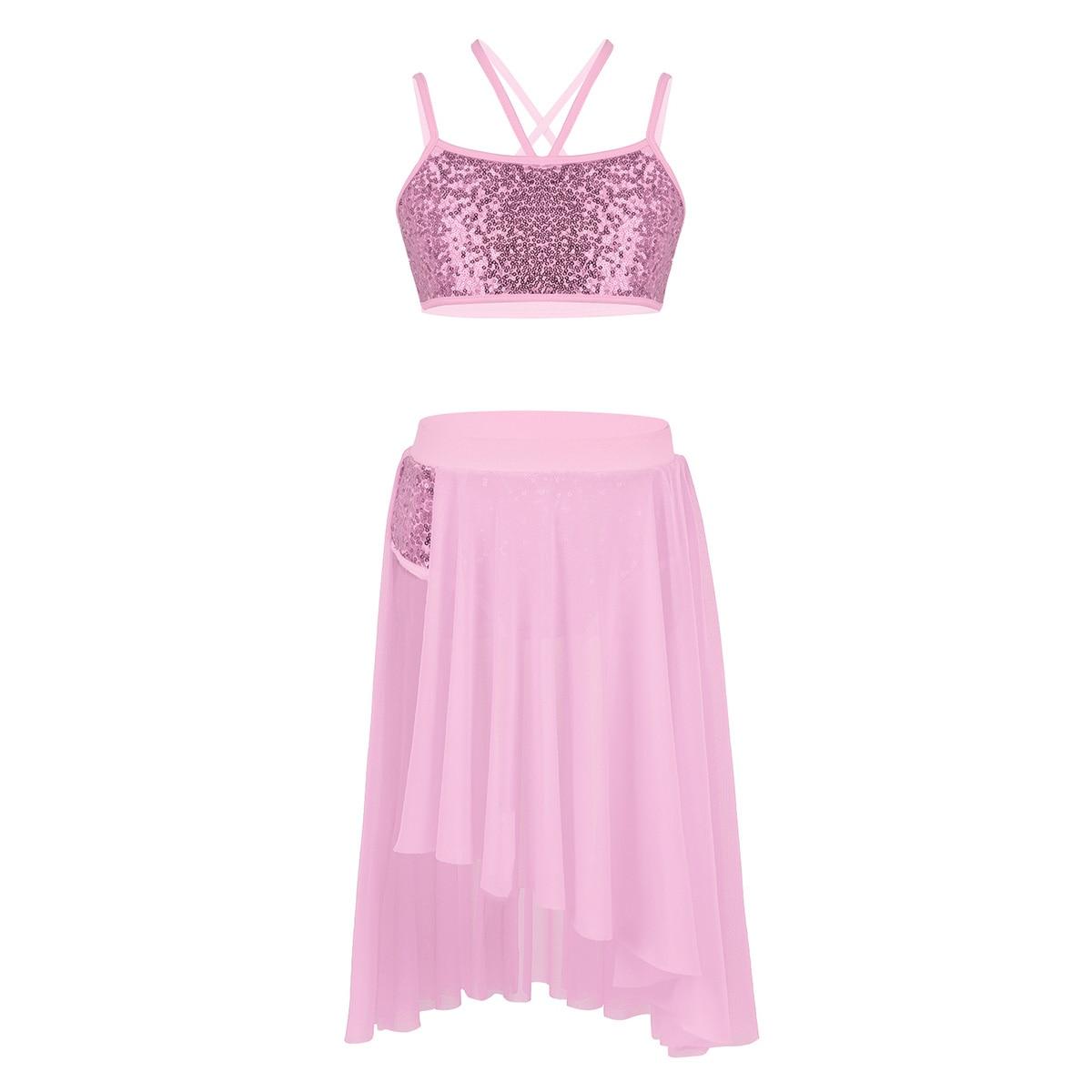 794341429 2Pcs Kids Teen Lyrical Dance Dress Ballet Shiny Crop Top and Shorts ...