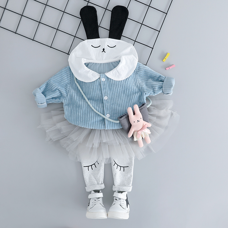 все цены на HYLKIDHUOSE 2018 Autumn Baby Girls Clothing Sets Toddler Infant Clothes Suits Cartoon Rabbit Coats TUTU Pants Children Costume