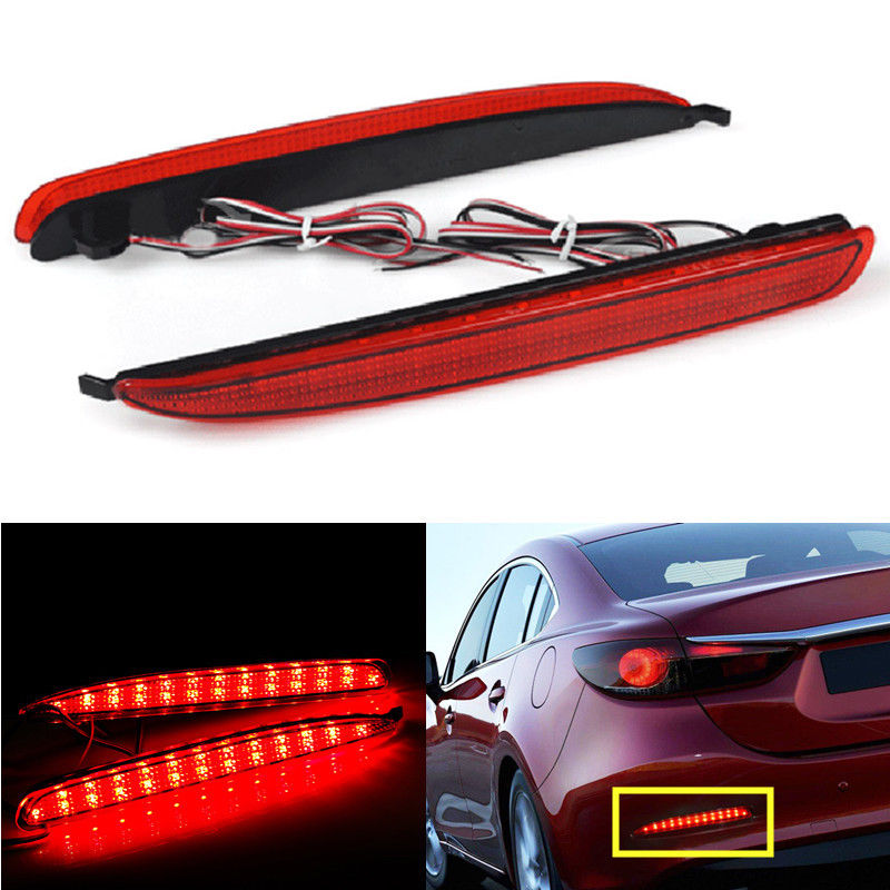 CYAN SOIL BAY 2X 24 LED Car Rear Bumper Reflector Brake Stop Running Light For Mazda 6 03-08 For Mazda6 Atenza Sport Mazdaspeed