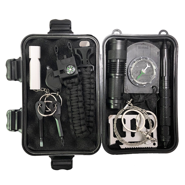 Camping 10 in 1 survival kit Outdoor tourism Multifunction First aid SOS Emergency Supplies +slingshot survival kit military 1
