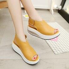 5 стилей Летние женские сандалии на танкеточной платформе кожа качели открытый носок повседневная женская обувь Обувь для прогулок Туфли без каблуков размеры 35–43