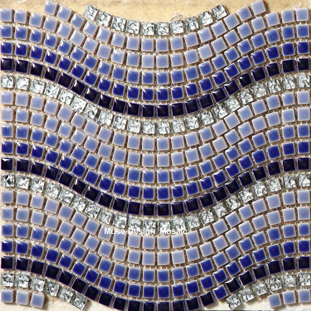 Art Design Blau Weiß Grau Welle Keramikmischglasmosaik Galvanik Kristall  Glasmosaik Fliesen Badezimmer Schlafzimmer Boden Wandaufkleber