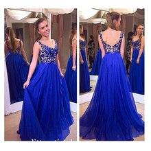 Heißer Verkauf Blau Elegante Sleeveless A-Line Abendkleid Appliques Abendkleid Formales Partei-kleid Nach Maß Kleid