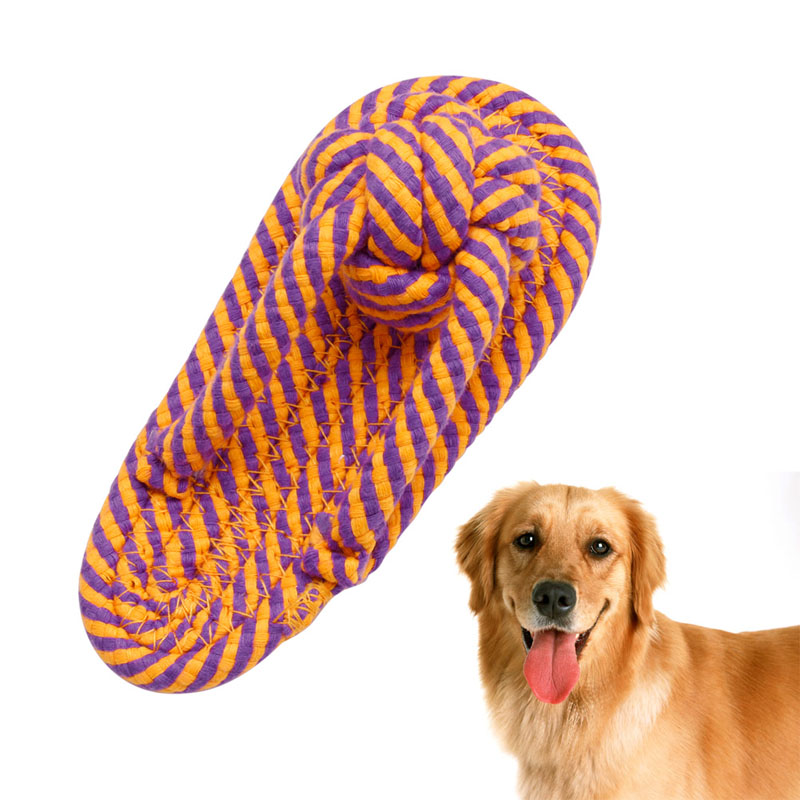 New 1Pc Dog Toy Cotton Flossy Ropes Aggressive Durable Rope Resistance Slipper Teething Playing Dog Chew Toy