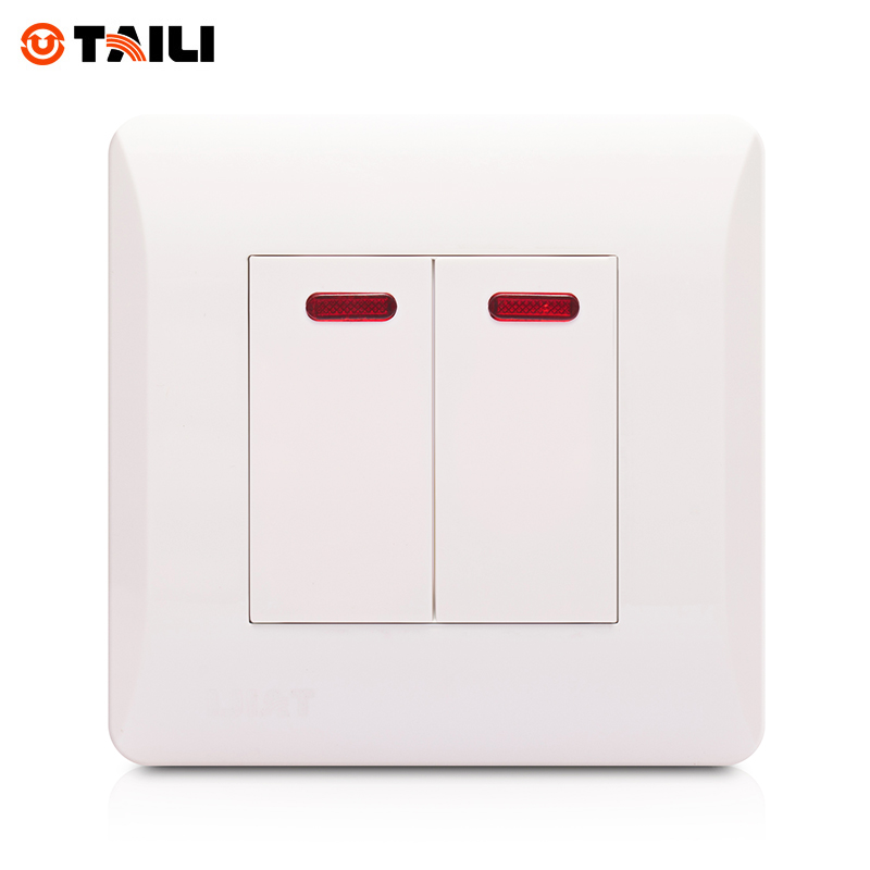 TAILI Brand Wall Switch 2 Gang 1 Way Panel Interrupteur Light Switch Push Button Switches Indicator EU Standard #TL0612 купить