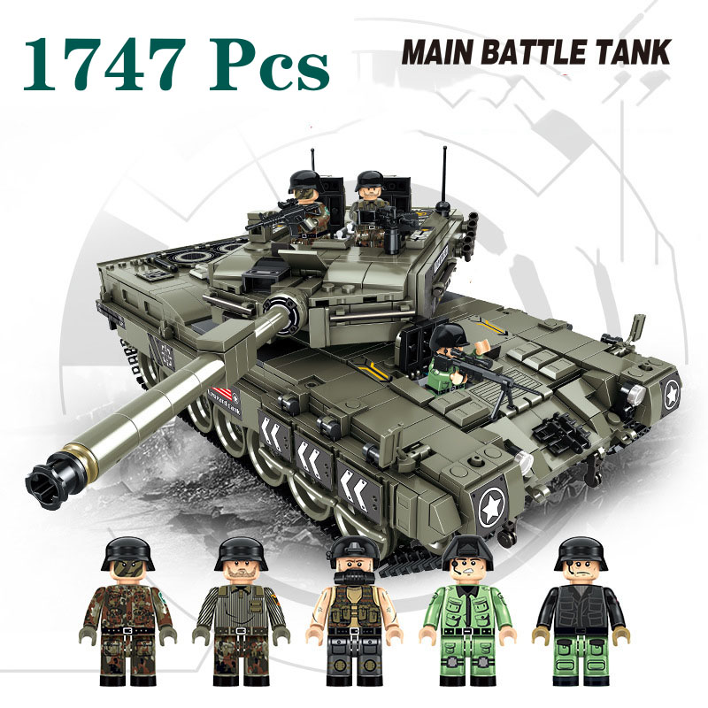 1747Pcs Military Series World War Germany Leopard 2 Main Battle Tank Model Model Building Blocks Toys