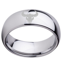 Custom Mens Friendship Ring With Zodiac Taurus Laser 8mm Dome Women Tungsten Wedding Band Size 7