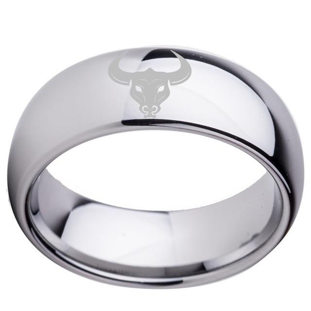 Custom Mens Friendship Ring With Zodiac Taurus Laser 8mm Dome Women Tungsten Wedding Band Size 6