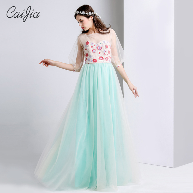 Caijia New Sample Transparent Half Sleeve Ball Gown Prom Dress-in ...