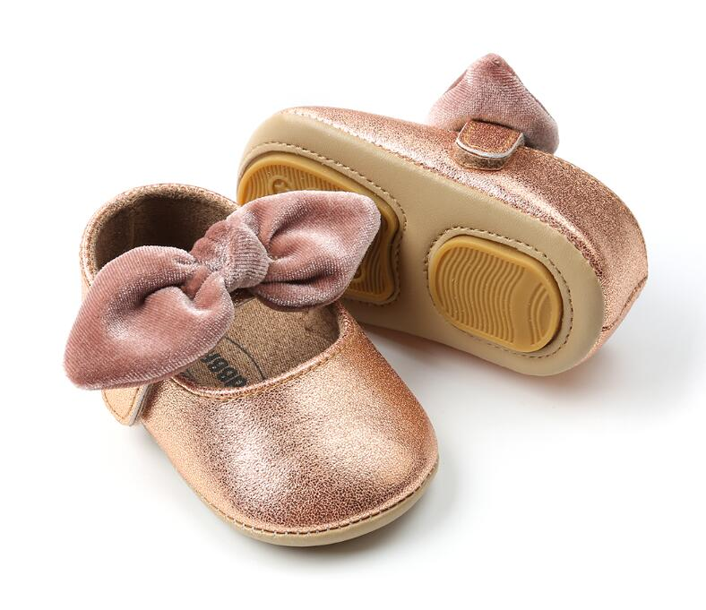 New Fashion Summer Hard Soled Baby Girl Shoes Flock Bow-knot Toddler Moccasins Anti-slip Princess Mary Jane Baby Shoes