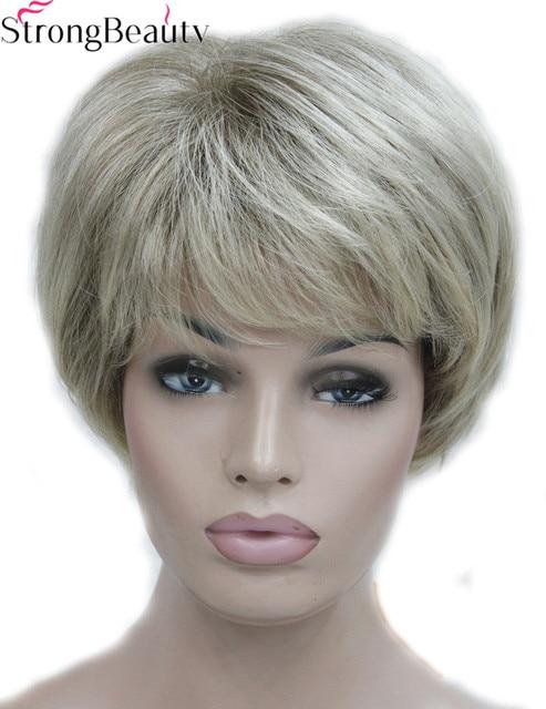 Starke Schonheit Kurze Synthetische Silber Grau Perucken Frauen Haar