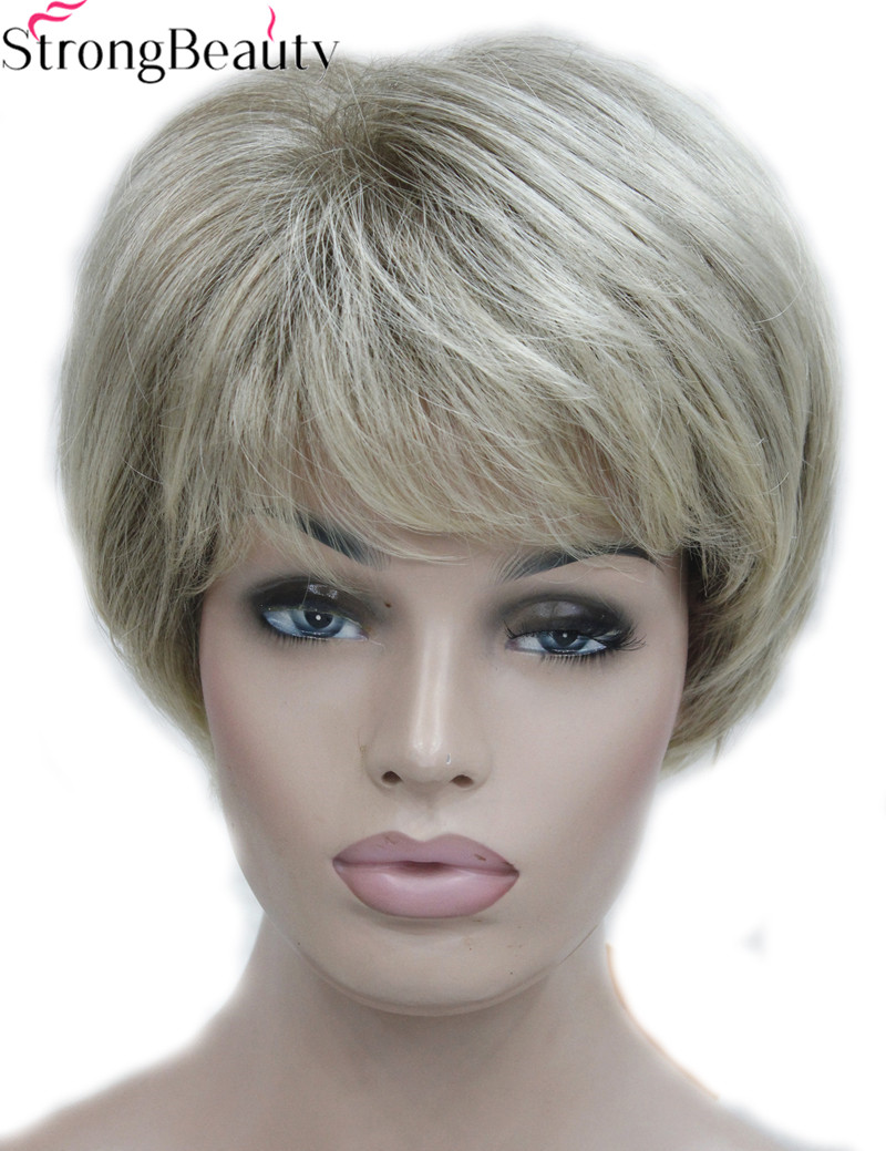 Strong Beauty Short Synthetic Silver Gray Wigs Women's Hair Heat Resistant Capless Wig