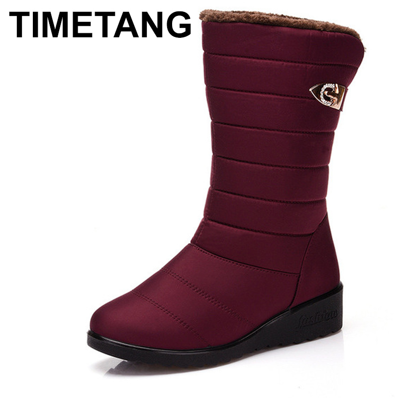 TIMETANG Winter Women Boots Mid-Calf Down Boots Female Waterproof Ladies Snow Boots Girls Winter Shoes Woman Plush Insole Botas ekoak new 2017 winter boots fashion women boots warm plush mid calf boots ladies platform shoes woman rubber leather snow boots