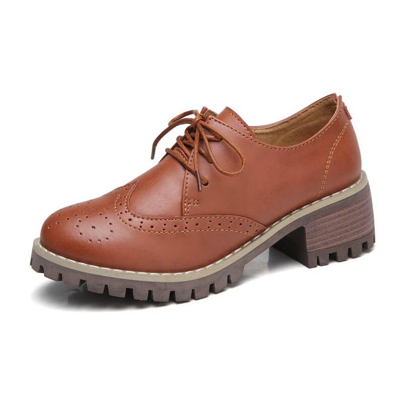Casuales Bajo Con Redonda Zapatos Punta 2 De Cuero Moda Vaca Para Black Nueva red 2 Mujer brown Oxfords Vintage Tacón black Tallada brown Genuino Cordones wqIZ7gTt