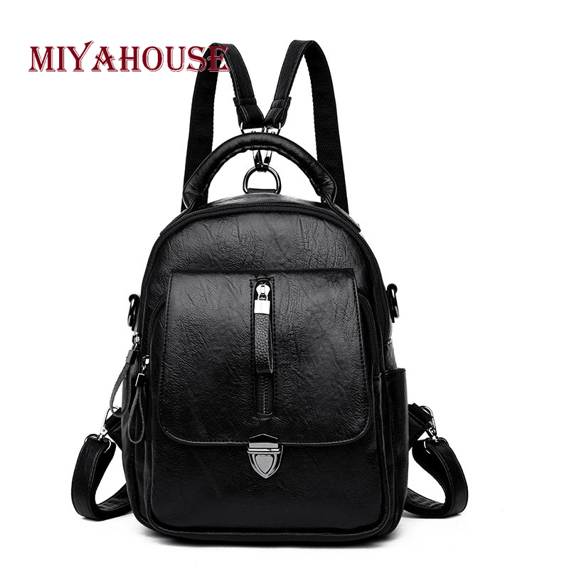Miyahouse Vintage Pu Leather Backpack For Women Solid Color Rucksack For Female Korean Style Large Capacity Backpac For Women