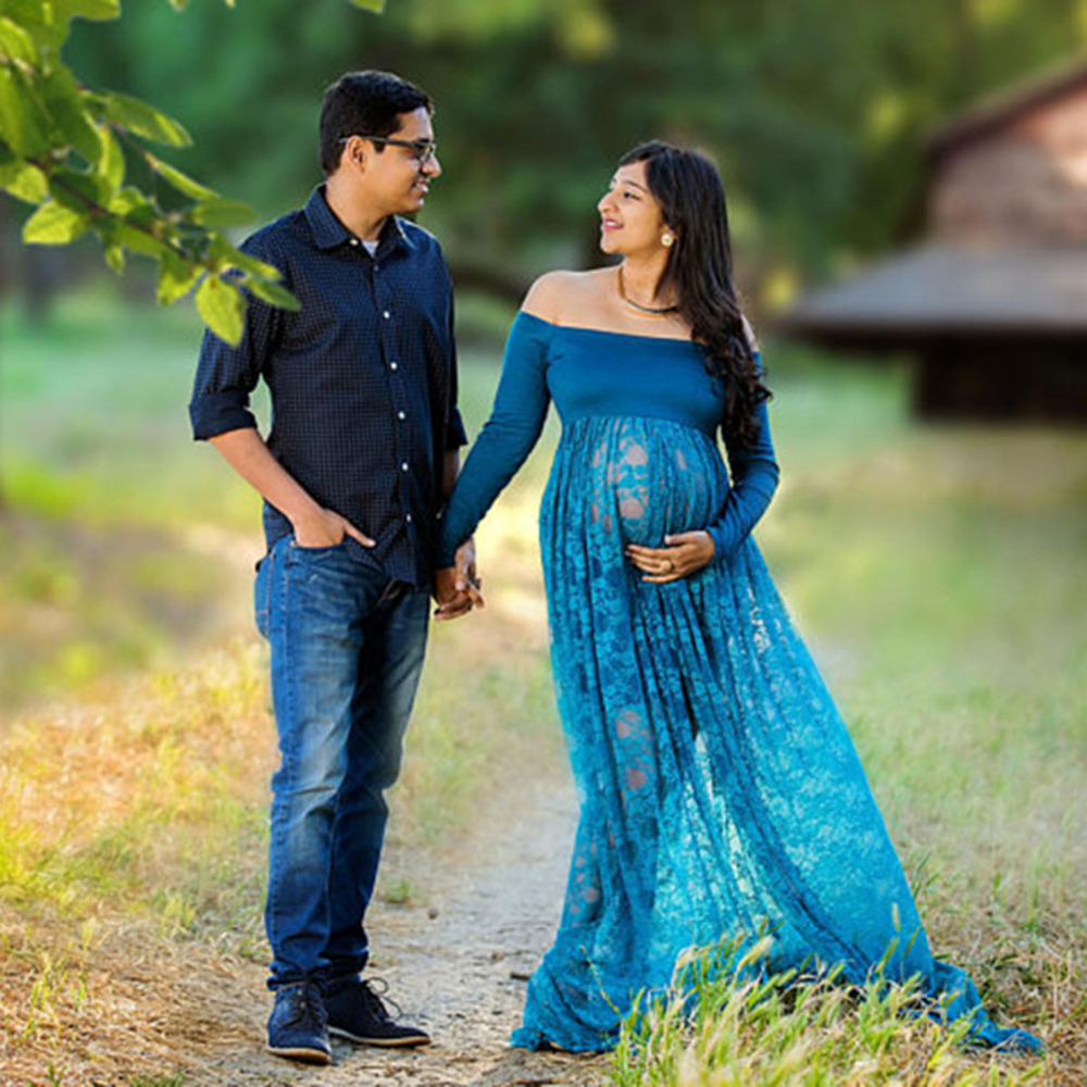 Maternity Dresses Front split Slash Neck Pregnancy Gown Women Dress Lace Elastic Photography Maxi Props Clothes Long For Female