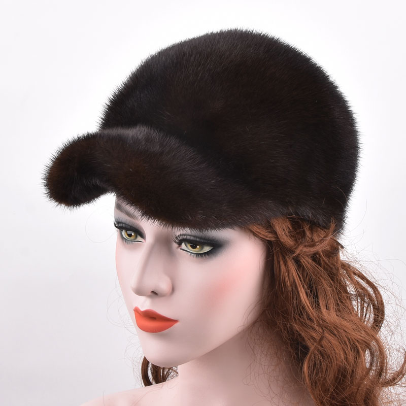 Men's Women natural Real mink fur hats autumn and winter warm fashion luxury genuine whole mink fur visors cap for men hat