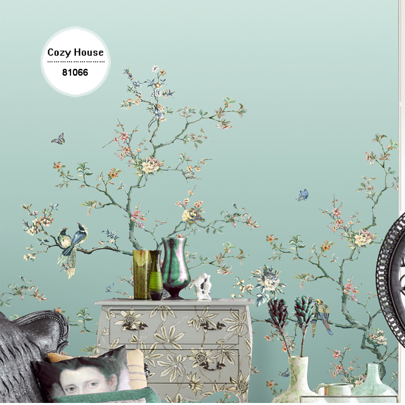 Blossom Rose Butterfly Love Living Room Home Decal Decoration Wall Sticker Brown