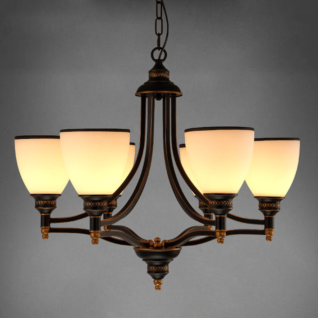 Modern European Chandelier Simple Retro Bronze Chandeliers Art Dining Room Lighting Decor