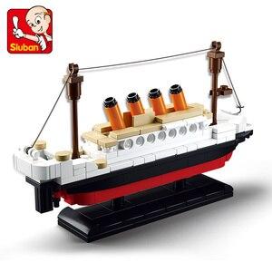 Image 1 - 194 sztuk miasto RMS Titanic statek Model łodzi zestawy klocków budowlanych figurki DIY Technic Creator cegły edukacyjne zabawki dla dzieci