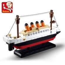 194Pcs עיר טיטניק ספינה סירת דגם אבני בניין סטי דמויות DIY טכני בורא לבנים חינוכיים צעצועים לילדים