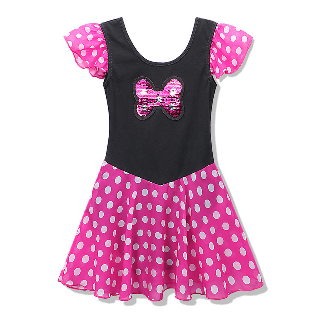c9d7f7555 Minnie Mouse Mickey Cosplay Red Polka Dots Short Sleeve Ballet Tutu Dress  for 2~8Y Girls Ballet Gymnastic Leotard Dress Clothes