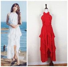 Liling Halter Strapless flounce irregular red multi pendulum Chiffon Dress summer art fan holiday dress