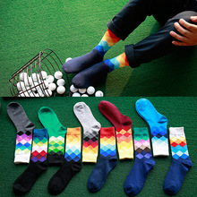 Knee-High socks Men gradient color Diamond-shaped lattice Golf socks sports cotton basketball soccer socks for skiing Cycling