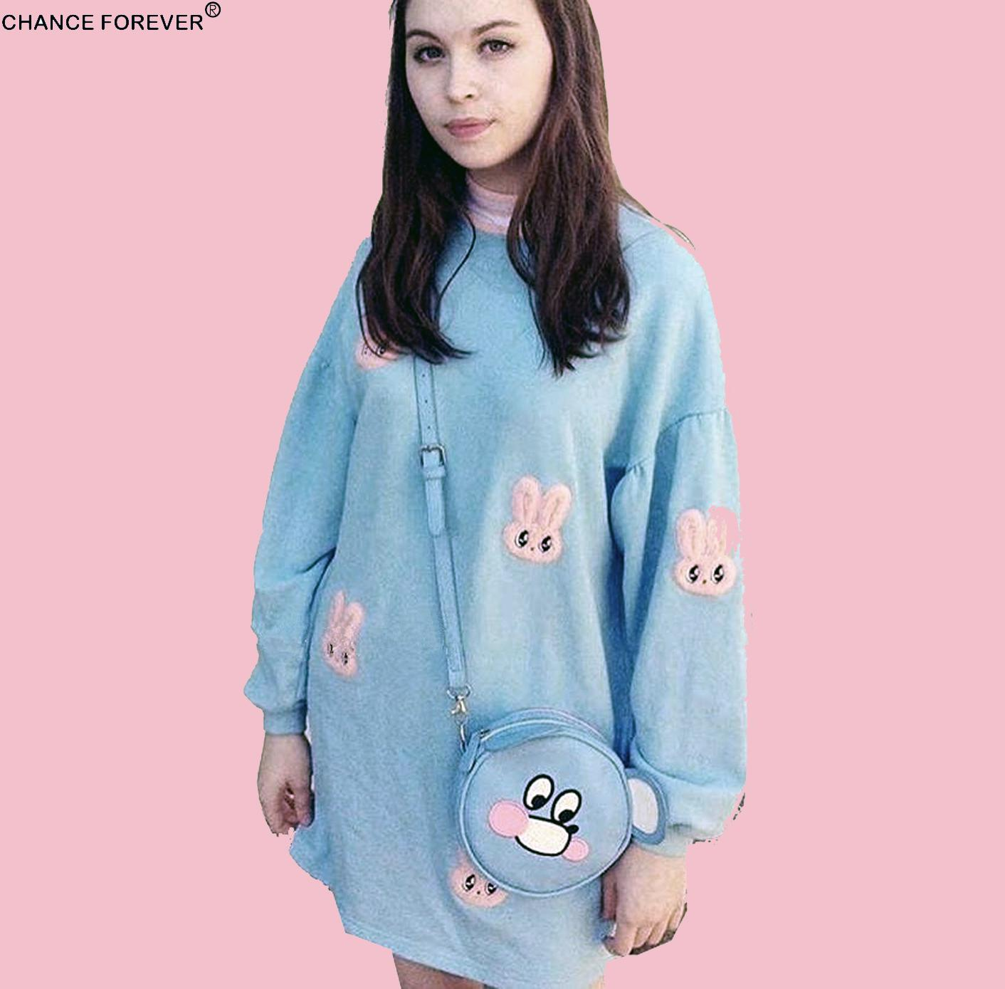 244aae66bbf Rabbit lazy oaf pink white stripe mock neck oversize sweatshirt dress  Vintage velvet Pullover cute loose Feminino Dresses-in Dresses from Women s  Clothing ...