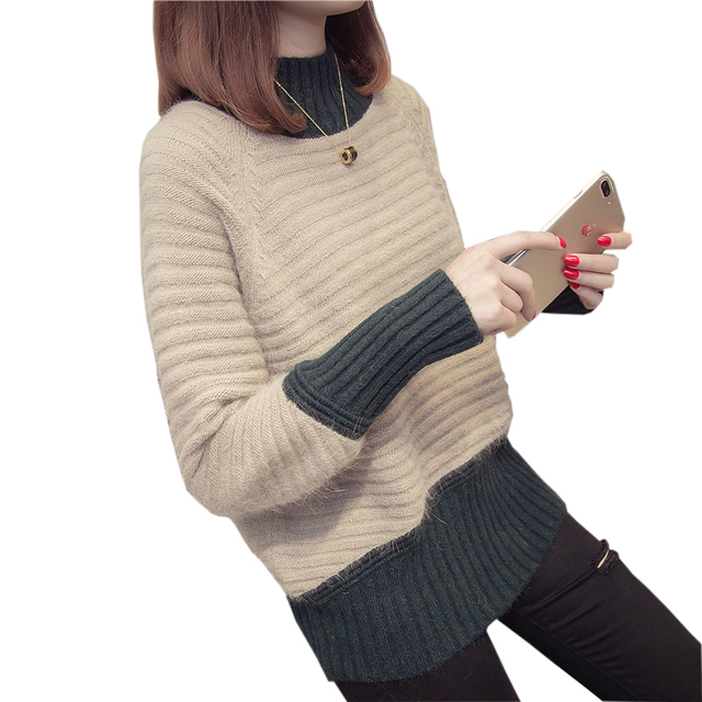 Women Patchwork Knit Sweaters Pullovers 2018 Spring Autumn Half Turtleneck  Pullover Casual Loose Knitted Jumper Sweater