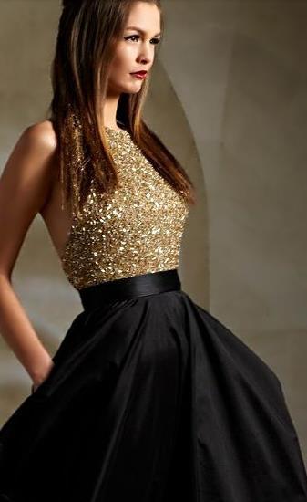 2016 Amazing Gold Beaded Maxi Prom Dresses Sparkly Black Skirt
