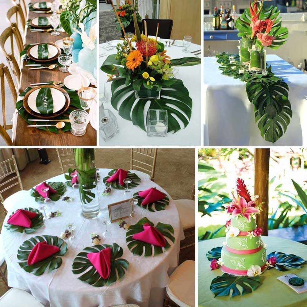 12pcs Artificial Tropical Palm Leaves For Hawaii Luau Party