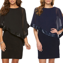 JIMMYHANK 2017 Women Summer Sexy Fashion Elegant Nightclub Party O-Collar Sequins Sheer Dress
